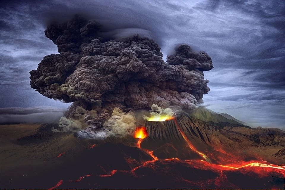 Volcanos erupt in a similar way to the mind during a release of its contents. This happens during the phase of allowing.